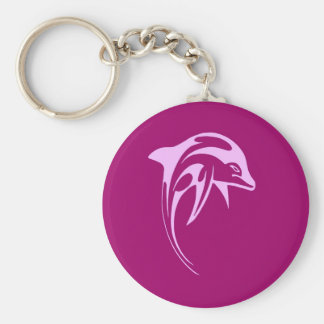 Pink dolphin basic round button key ring