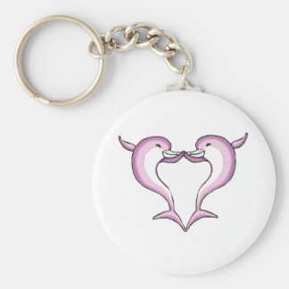 pink dolphin heart basic round button key ring