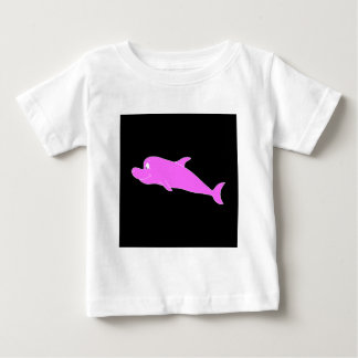 Pink Dolphin on Black. Baby T-Shirt