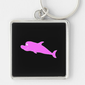 Pink Dolphin on Black. Silver-Colored Square Key Ring