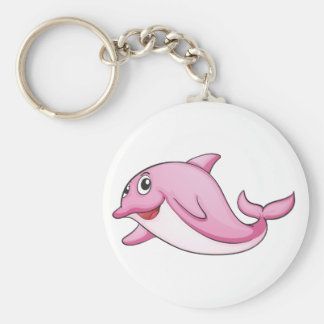 Pink dolphin on white basic round button key ring