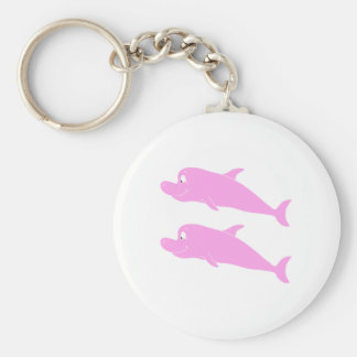 Pink Dolphins. Basic Round Button Key Ring