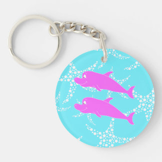 Pink Dolphins. Double-Sided Round Acrylic Key Ring
