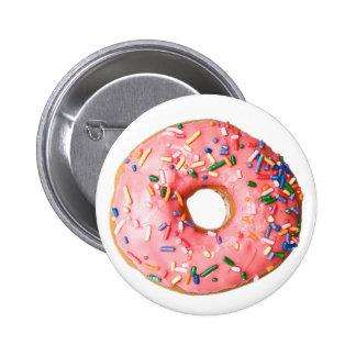 pink donut 6 cm round badge
