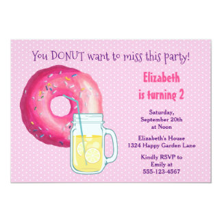 Pink Donut And Lemonade Birthday Party Invite