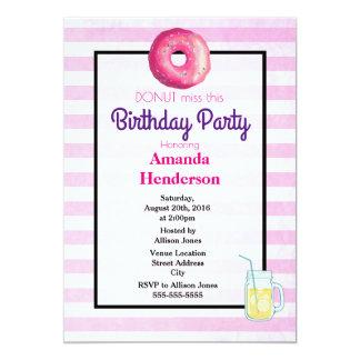 Pink Donut And Lemonade Fancy Birthday Invite