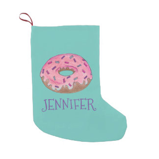 Pink Donut Doughnut Personalized Holiday Stocking