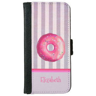 Pink Donut On Purple Stripes Personalized iPhone 6 Wallet Case