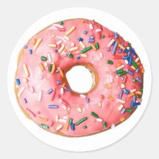pink donut round sticker
