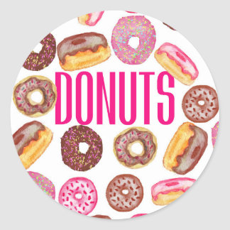 Pink Donut Typography and Watercolor Cute Donuts Classic Round Sticker