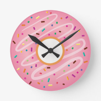 Pink Donut with Rainbow Sprinkles Round Clock