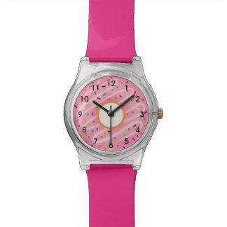 Pink Donut with Rainbow Sprinkles Wrist Watch