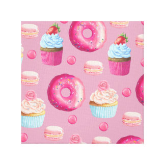 Pink Donuts, Cupcakes, and Candies Canvas Prints