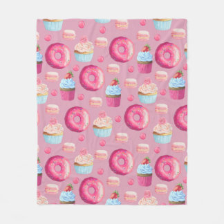 Pink Donuts, Cupcakes, and Candies Fleece Blanket