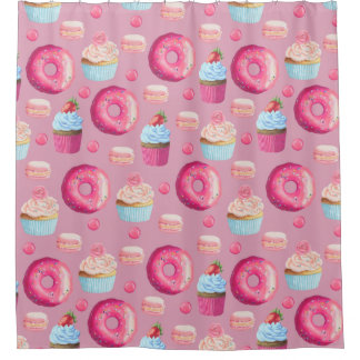 Pink Donuts, Cupcakes, and Candies Shower Curtain
