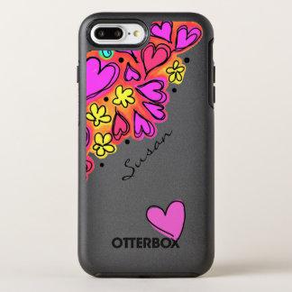 Pink Doodle Hearts OtterBox Symmetry iPhone 8 Plus/7 Plus Case