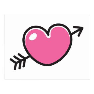 Pink doodle love heart pierced by arrow postcard