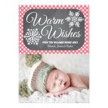 Pink Dot Chalkboard Snowflake Holiday Photo Card Invitations