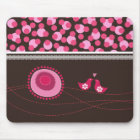 Pink Dot Flowers & Happy Birds Pattern Mousepad