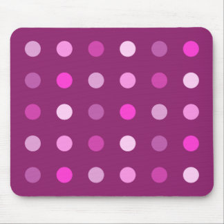 Pink Dot Pattern on Plum Mouse Mat