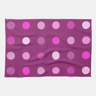Pink Dot Pattern on Plum Tea Towel