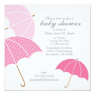 pink dot umbrella BABY SHOWER sprinkle invitation