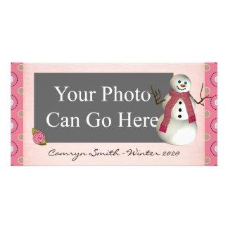 Pink Dot Winter Snow Snowman Christmas Customised Photo Card