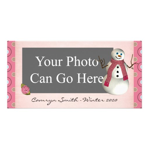 Pink Dot Winter Snow Snowman Christmas Picture Card