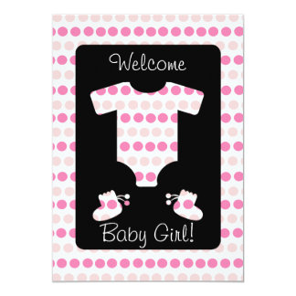 Pink Dots Baby Girl Clothes and Booties Shower Card