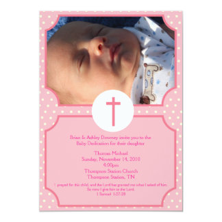 Pink Dots Baptism Baby Girl Dedication 5x7 photo Card