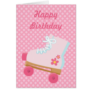 Pink Dots Rollerskate Birthday Card