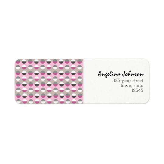 Pink Dots Stylish Girl Modern Cool Fancy Unique Return Address Label