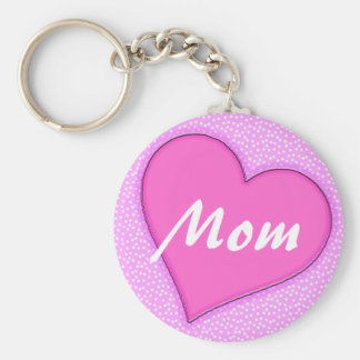 Pink Dotted Mom Heart Key Ring