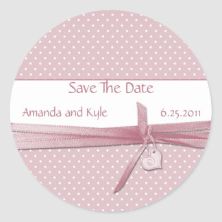 Pink Dotted Swiss Save The Date Sticker
