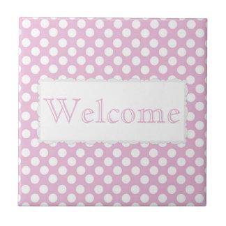 Pink Dotty Polka Dot Ceramic Tile