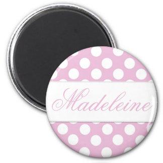 Pink Dotty Round Magnet