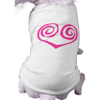 Pink Double Spiral Heart Breast Cancer Survivor Sleeveless Dog Shirt