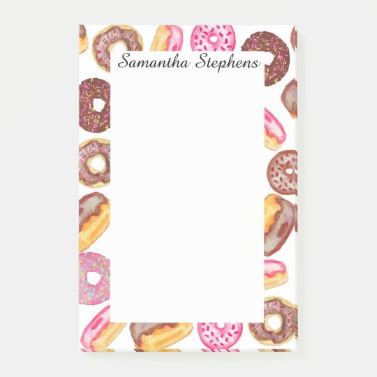 Pink Doughnut Typography and Watercolor Cute Post-it Notes