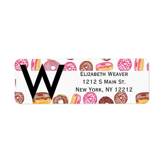 Pink Doughnut Typography and Watercolor Cute Return Address Label