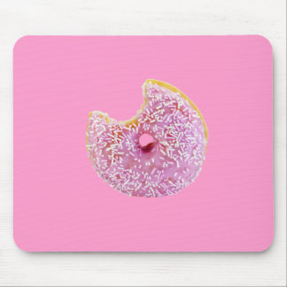 pink doughnut with a missing bite mousepad