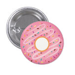 Pink Doughnut with Rainbow Sprinkles 3 Cm Round Badge