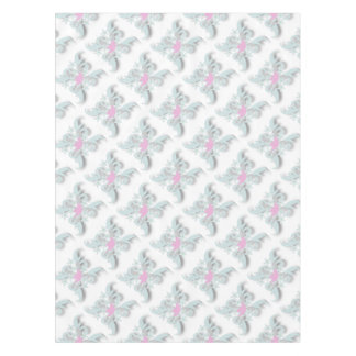 Pink Dove with Silver Flowers and Fronds Tablecloth