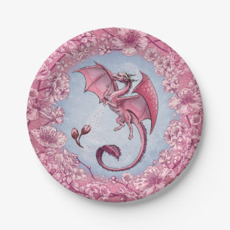 Pink Dragon of Spring Nature Fantasy Art 7 Inch Paper Plate