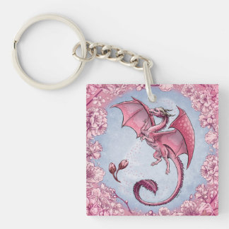 Pink Dragon of Spring Nature Fantasy Art Double-Sided Square Acrylic Key Ring