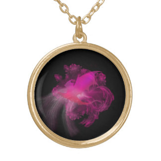 Pink Dragon with Black Background Round Pendant Necklace