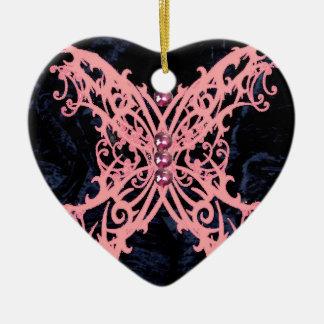Pink Dragonfly/ Navy Velvet Design Ceramic Heart Decoration