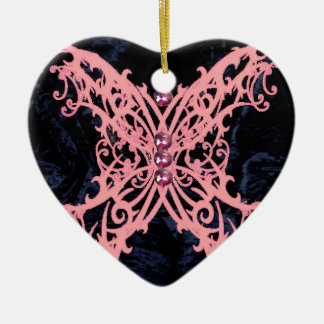 Pink Dragonfly/ Navy Velvet Design Christmas Ornament