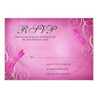 Pink Dragonfly Swirls Wedding RSVP Response Card 9 Cm X 13 Cm Invitation Card