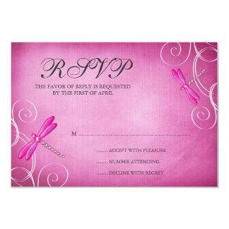 Pink Dragonfly Swirls Wedding RSVP Response Card 9 Cm X 13 Cm Invitation Card