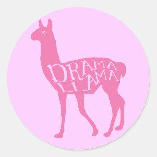 Pink Drama Llama Classic Round Sticker